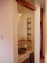 益子焼きとタイルの手洗いコーナー